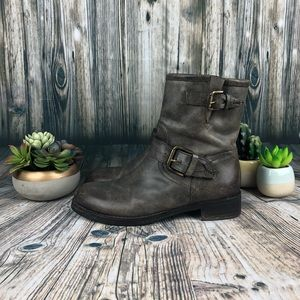 Alberto Fermani Moto Boots Gray Leather US 9